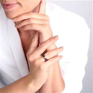 Diamond Black Ceramic Ring in 10K Gold 0.06ct