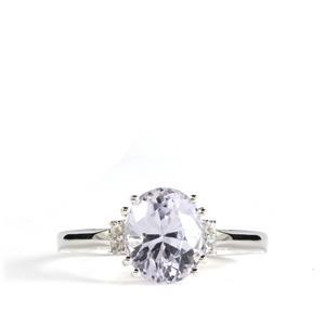 Mawi Kunzite & White Topaz Sterling Silver Ring ATGW 3cts
