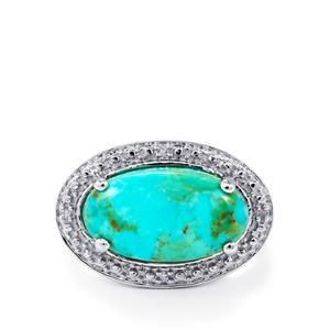 Cochise Turquoise Ring with Diamond in Sterling Silver 5.84cts