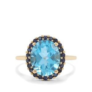 Swiss Blue Topaz Ring with Sri Lankan Sapphire in 10K Gold 5.79cts