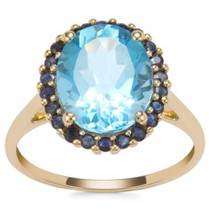 Swiss Blue Topaz Ring with Sri Lankan Sapphire in 9K Gold 5.79cts