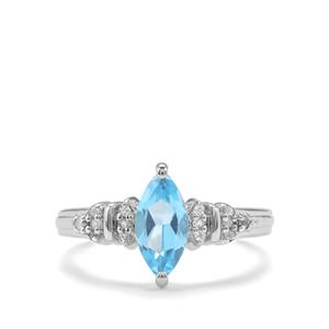 1.28ct Swiss Blue & White Topaz Sterling Silver Ring