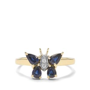 Australian Blue Sapphire & White Zircon 9K Gold Ring ATGW 1.02cts