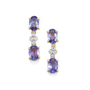 AA Tanzanite Earrings with Diamond in 18K Gold 2.24cts