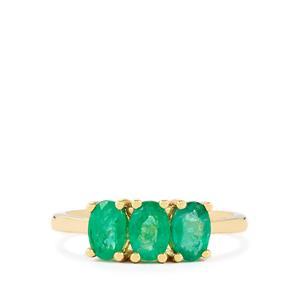 Bahia Emerald Ring  in 9K Gold 1.32ct