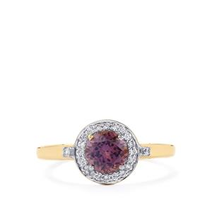 Mahenge Purple Spinel Ring with Diamond in 14k Gold 1.06cts