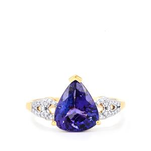 AAA Tanzanite Ring with Diamond in 18k Gold 2.86cts