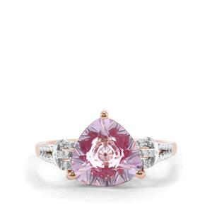 Lehrer KaleidosCut Rose De France Amethyst, Malagasy Ruby Ring with Diamond in 10K Rose Gold 2.78cts (F)
