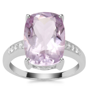 Rose De France Amethyst Ring with White Zircon in Sterling Silver 6.59cts