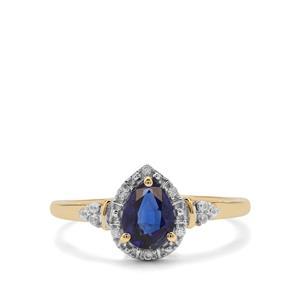 Nilamani & White Zircon 9K Gold Ring ATGW 1.02cts