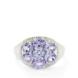 AA Tanzanite & White Topaz Sterling Silver Ring ATGW 2.50cts