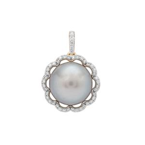 Tahitian Cultured Pearl Pendant with Diamond in 18K Gold (11mm)