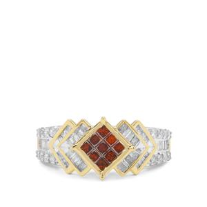Red Diamond Ring with White Diamond in 9K Gold 1ct