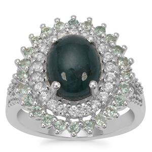 Grandidierite, Alexandrite Ring with White Zircon in Sterling Silver 4cts