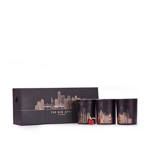 'Big Apple' New York Skyline Triple Candle Set with Apple Fragrance and Red Jasper ATGW 30cts