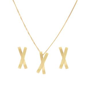 9K Gold Two Band Kiss Set of Earrings and Necklace 1.55g