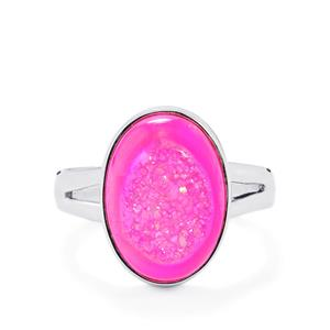 Hot Pink Drusy Ring in Sterling Silver 6.11cts