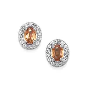 Capricorn Zircon Earrings With White Topaz In Sterling Silver 0 71cts