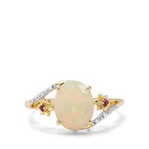 Ethiopian Opal, Pink Tourmaline & White Zircon 9K Gold Ring ATGW 1.53cts