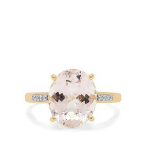 Rose Danburite & White Zircon 9K Gold Ring ATGW 4.85cts