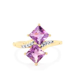 Moroccan Amethyst Ring with White Zircon in 10k Gold 2.09cts