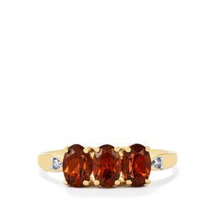Zanzibar Sunburst Zircon Ring with Diamond in 10k Gold 2.06cts