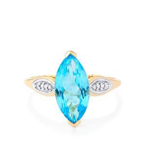 Swiss Blue Topaz & White Zircon 9K Gold Ring ATGW 3.35cts