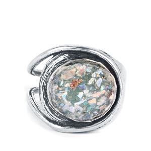 Roman Glass Sterling Silver Ring (12mm)