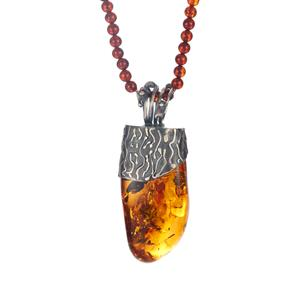 Baltic Cognac, Champagne & Cherry Amber Necklace in Sterling Silver