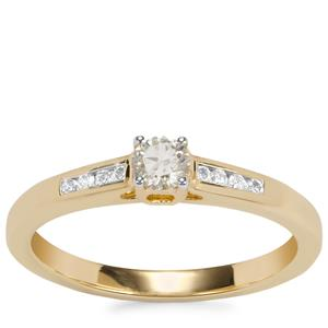 Natural Yellow Diamond Ring with White Diamond in 18K Gold 0.28ct