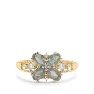 Alexandrite & White Zircon 9K Gold Ring ATGW 1.06cts