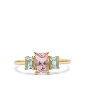 Cherry Blossom™ Morganite & Aquaiba™ Beryl 9K Gold Ring ATGW 1.25cts
