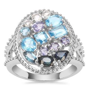 2.79ct Oceanic Sterling Silver Shades Ring