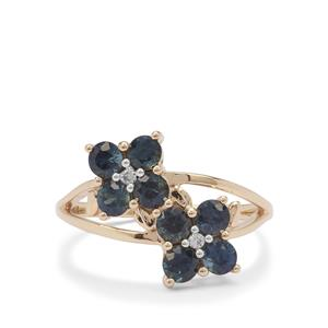 Australian Blue Sapphire Ring with White Zircon in 9K Gold 1.40cts