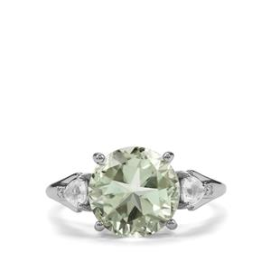 Lone Star Prasiolite Amethyst Ring with White Topaz in Sterling Silver 4.11cts