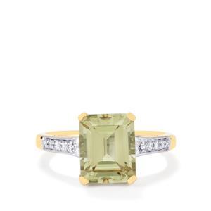 Csarite® & Diamond 18K Gold Lorique Ring MTGW 4cts