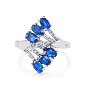 Daha Kyanite Ring with White Zircon in Platinum Plated Sterling Silver 2.18cts