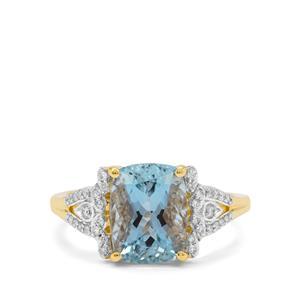 Nigerian Aquamarine Ring with Diamond in 18K Gold 3.10cts