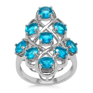 Neon Apatite Ring in Sterling Silver 3.27cts