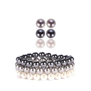 White & Grey Mother of Pearl Sterling Silver Set of 3 Elastic Bracelets & Earrings (8mm)