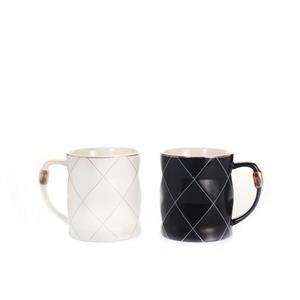 Set of 2 Monochrome Faceted Ceramic Mugs
