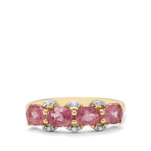 Padparadscha Sapphire & Diamond 9K Gold Tomas Rae Ring ATGW 1.96cts