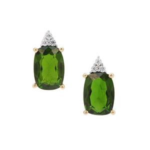 Chrome Diopside Earrings with White Zircon in 9K Gold 1.90cts