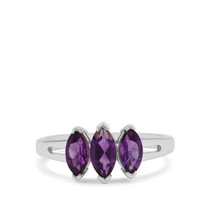 Zambian Amethyst Ring in Sterling Silver 1.20cts