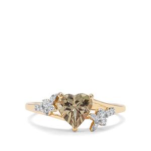 Csarite® & Diamond 9K Gold Ring ATGW 1.32cts