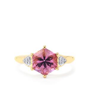 Patroke Topaz Polaris Ring with Diamond in 9K Gold 3.26cts