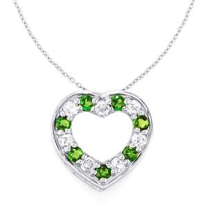 Chrome Diopside Pendant Necklace with White Topaz in Sterling Silver 1.98cts