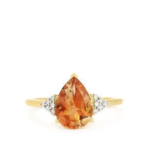 Oregon Sunstone & Diamond 18k Gold Tomas Rae Ring MTGW 2.28cts