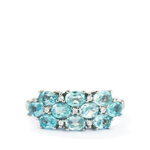 Madagascan Blue Apatite & White Topaz Sterling Silver Ring ATGW 1.86cts