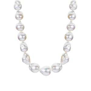 South Sea Cultured Pearl Necklace in Sterling Silver (9.50 x 9mm)
